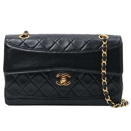 chanel-design-flap-turn-lock-chain-bag-with-pouch-black