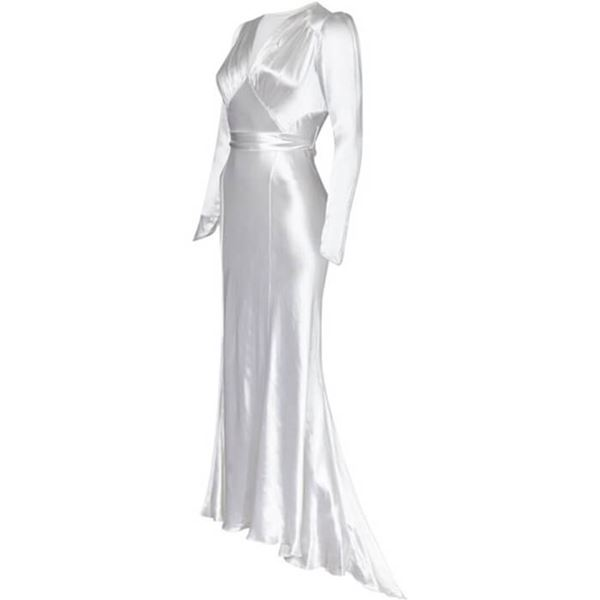 db30834f2c18 Original 1930s White Silk Satin Bias Cut Wedding Dress with Long ...