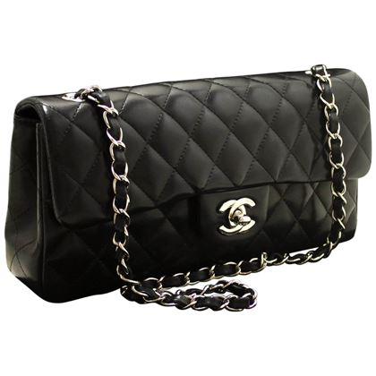 chanel-10-chain-shoulder-bag-black-quilted-single-flap-leather-sv