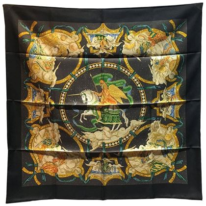 authentic-hermes-cavaliers-des-nuages-silk-scarf-in-black