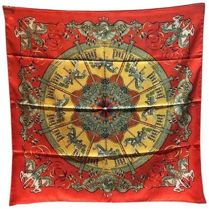 hermes-vintage-luna-park-silk-scarf-in-red