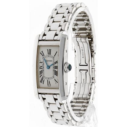 Cartier Tank Américaine 18Kt White Gold Unisex Watch