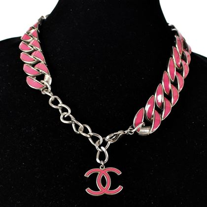 chanel-pink-curb-chain-necklace-cc-logo-charm-silver-chain-pre-owned-used