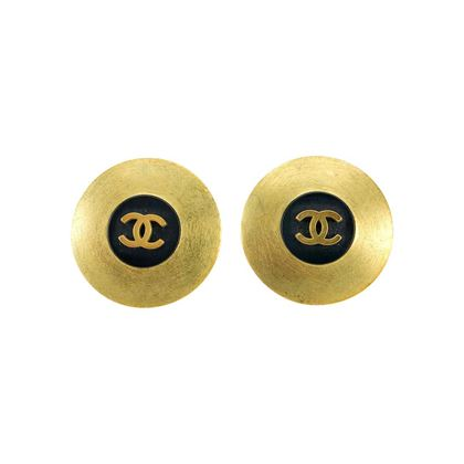 chanel-brushed-gold-tone-and-black-logo-earrings-1994