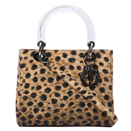 Dior Leopard Pattern Lady 2way Bag M Brown