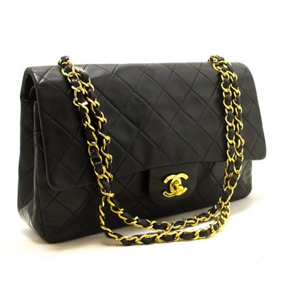 chanel-255-double-flap-10-chain-shoulder-bag-lambskin-black-3