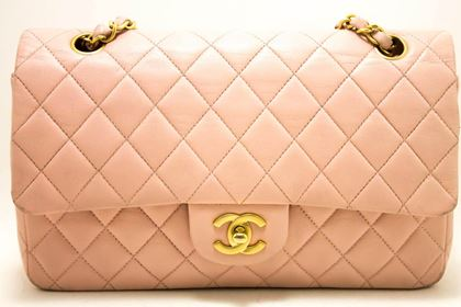 chanel-255-double-chain-flap-shoulder-bag-pink-quilted-lambskin