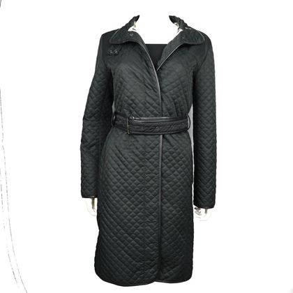 burberry-london-black-quilted-long-jacket-coat-belted-us-small-pre-owned-used