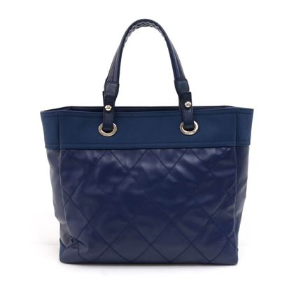 chanel-paris-biarritz-mm-blue-coated-canvas-x-leather-tote-bag-rare