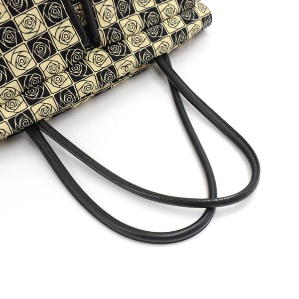 chanel-beige-black-canvas-camellia-check-pattern-shoulder-bag-2