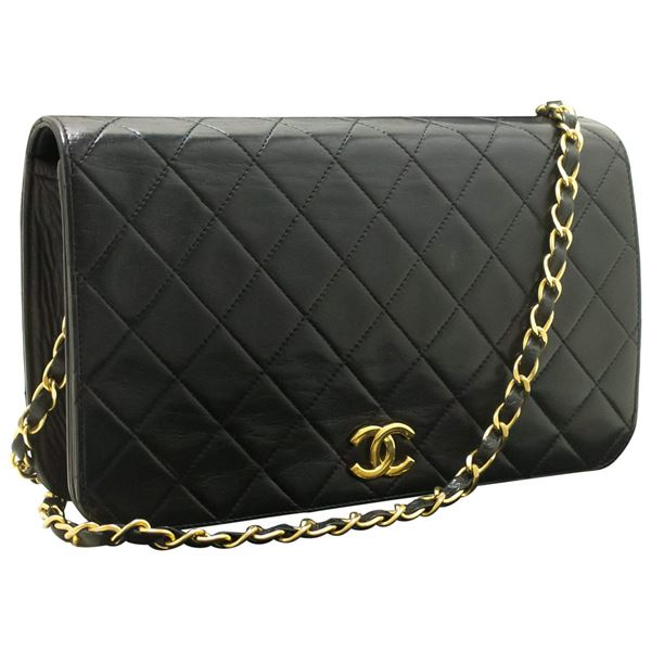 chanel-chain-shoulder-bag-black-clutch-flap-quilted-lambskin-6