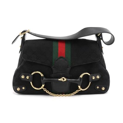 gucci-black-gg-monogram-canvas-horsebit-chain-green-red-web-shoulder-bag-limited-ed