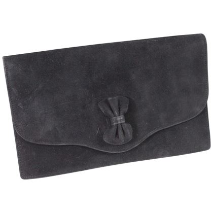 1973-hermes-vintage-black-suede-ribbon-clutch
