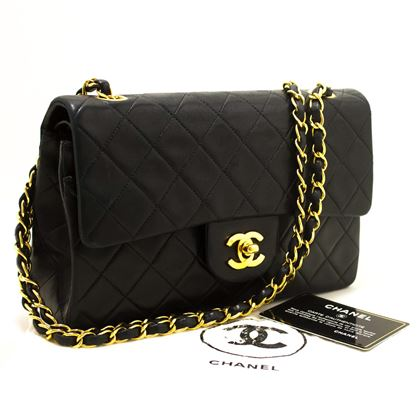 chanel-255-double-flap-9-chain-shoulder-bag-black-purse-lambskin