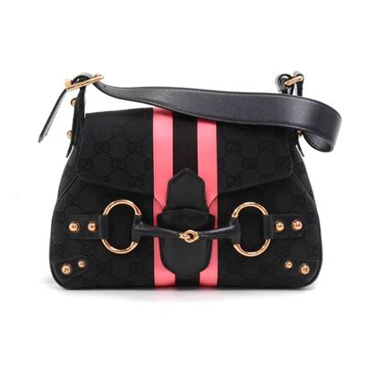 gucci-black-guccissima-canvas-pink-black-satin-stripe-horsebit-shoulder-bag-limited-ed