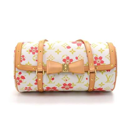 cc28654e11526 Louis Vuitton Papillon 27 Cherry Blossom White Monogram Canvas Murakami  Handbag
