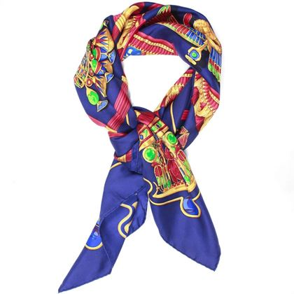 hermes-scarf-egyptian-blue-eagle-bird-animal-print-pre-owned-used