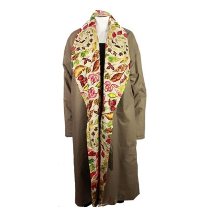 hermes-rare-vintage-reversible-leaf-print-jacket-tan-floral-long-blanket-coat-new