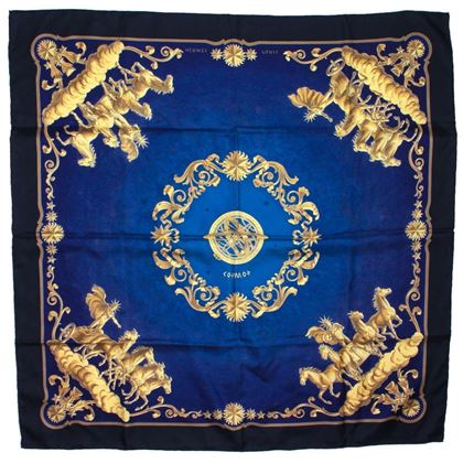 hermes-blue-gold-cosmos-chariot-print-square-scarf-90-cm-pre-owned
