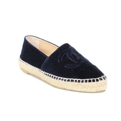 chanel-velvet-espadrilles-cc-black-loafer-shoes-36-us-6-pre-owned-used