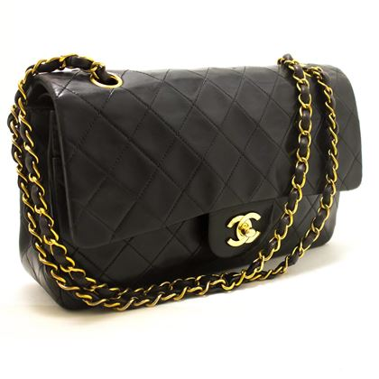 chanel-255-double-flap-10-chain-shoulder-bag-black-quilted-lamb-15