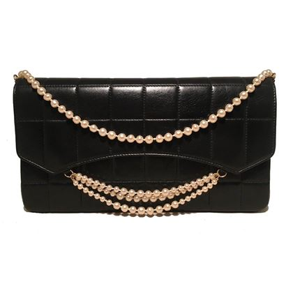 chanel-black-leather-square-quilted-pearl-chain-classic-flap-shoulder-bag