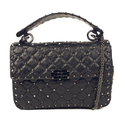 valentino-rockstud-spike-crossbody-medium-handbag-black-stud-chain-strap-bag-pre-owned-used