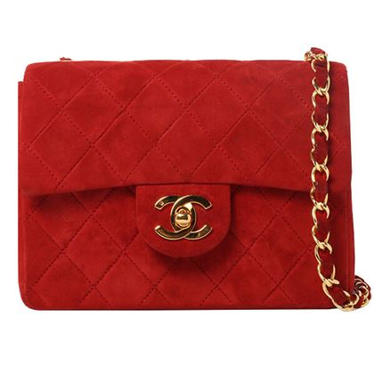 chanel-suede-classic-flap-chain-bag-mini-red