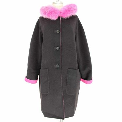 escada-coat-fur-fox-double-face-wool-angora-vintage-black-pink