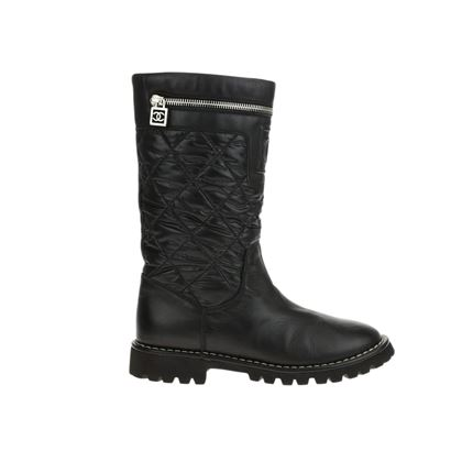 chanel-black-quilted-moto-boots