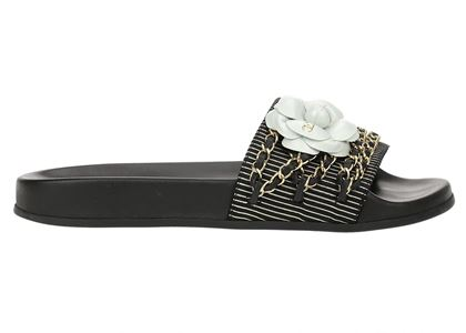 chanel-black-womens-chain-camellia-floral-print-sandals-39