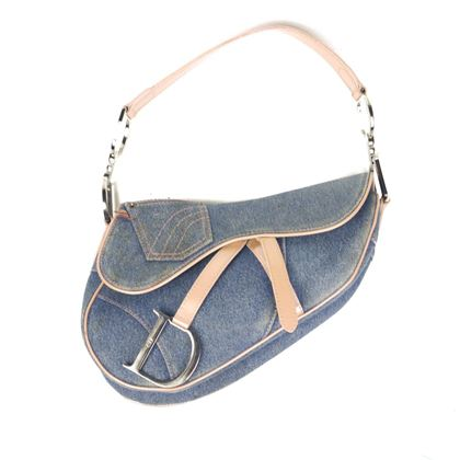 christian-dior-rare-denim-saddle-bag-vintage-blue-tan-silver-cd-logo-strap-pre-owned-used