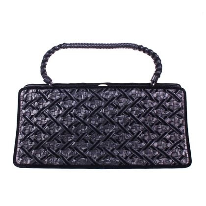 bottega-veneta-velvet-leather-black-woven-frame-bag-intrecciato-knot-clutch-pre-owned-used