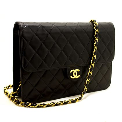 chanel-chain-shoulder-bag-black-clutch-flap-quilted-lambskin-7
