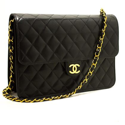 chanel-chain-shoulder-bag-black-clutch-flap-quilted-lambskin-8
