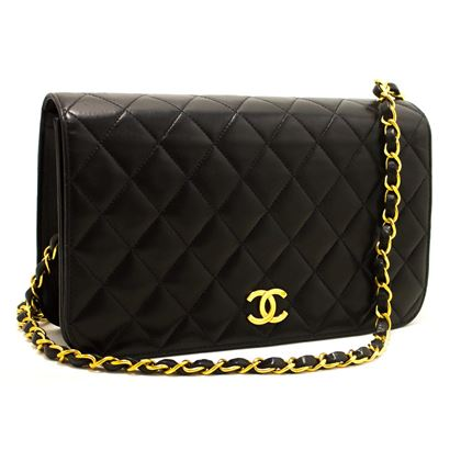 chanel-chain-shoulder-bag-black-clutch-flap-quilted-purse-lambskin-2