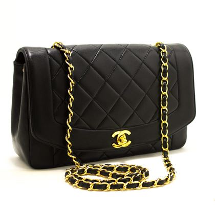 chanel-diana-chain-flap-shoulder-crossbody-bag-black-quilted-lamb-7