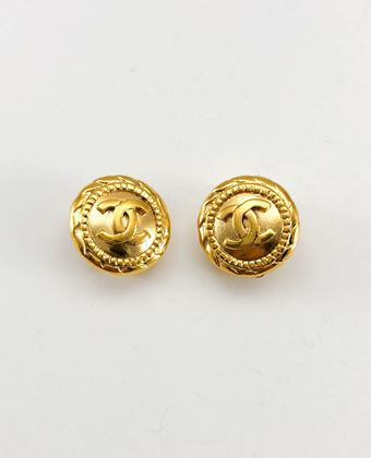 chanel-gold-plated-round-logo-earrings-1980s