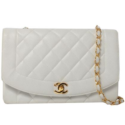 chanel-caviar-skin-diana-flap-chain-bag-25cm-white-2