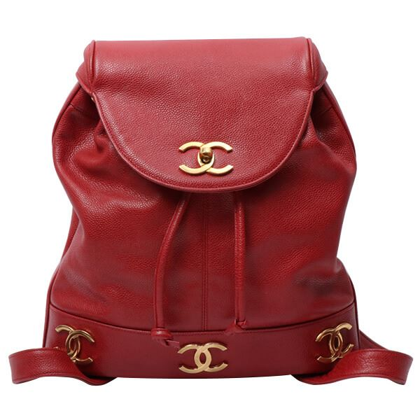 Chanel Caviar Leather 6 CC Mark Plate Backpack with Pouch Red e87294abb28b6