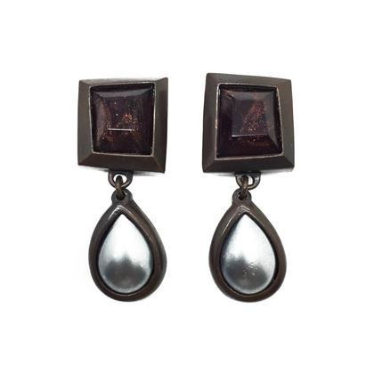 yves-saint-laurent-ysl-vintage-bronze-grey-statement-earrings-1980s