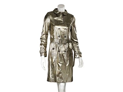 Gold Metallic Burberry London Lambskin Leather Trench Coat