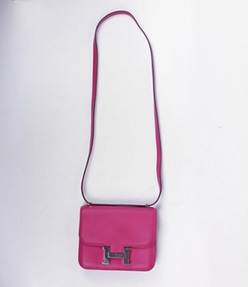 hermes-2017-constance-18-cm-mini-pink-fuchsia-flap-bag-silver-h-logo-crossbody-pre-owned-used