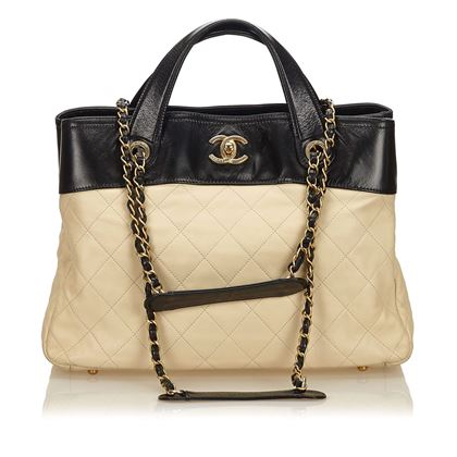 black-tan-chanel-in-the-mix-quilted-satchel