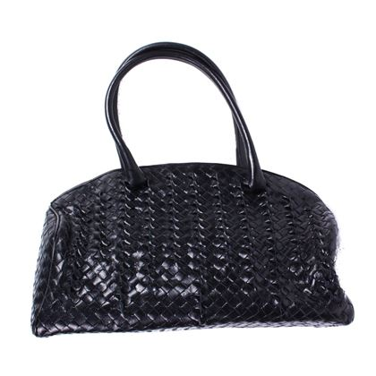 bottega-veneta-large-black-leather-woven-intrecciato-bowler-bag-handle-tote-pre-owned-used