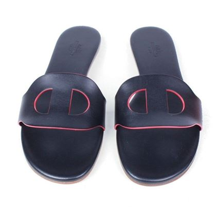 hermes-new-lisboa-sandals-black-leather-flats-red-trim-box-dustbag-37-us-7-pre-owned-used