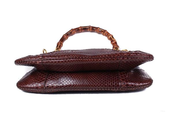 gucci-python-bamboo-handle-shoulder-bag-gold-studs-red-maroon-snakeskin-leather-pre-owned-used