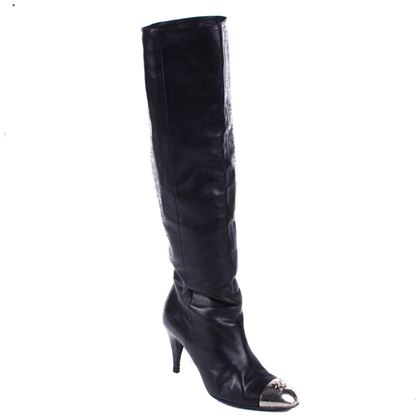 chanel-steel-toe-boots-tall-black-leather-heel-silver-metal-toe-37-us-65-pre-owned-used
