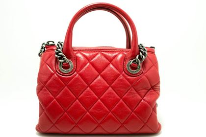 chanel-2-way-red-silver-chain-shoulder-bag-handbag-quilted-calf