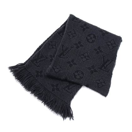 louis-vuitton-logomania-dark-gray-x-black-wool-silk-blend-scarf